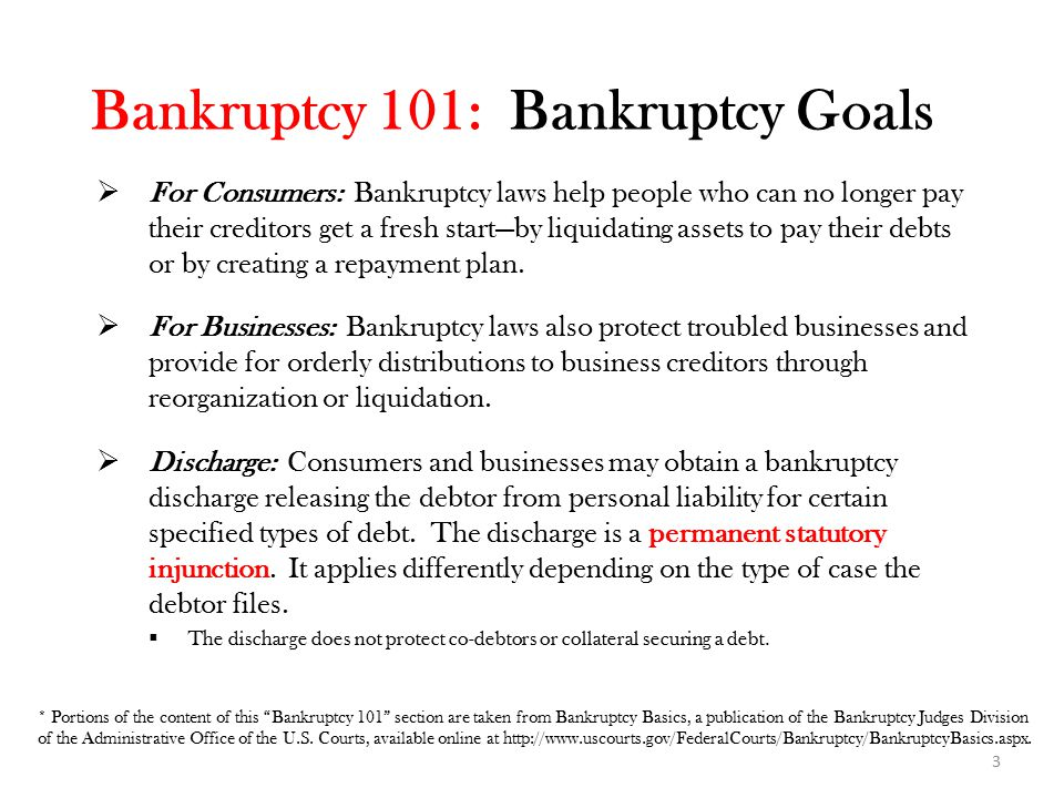 Bankruptcy 101: Bankruptcy Chapters Bankruptcy cases can be filed under different chapters of the Bankruptcy Code: ChapterDescription/Purpose Chapter 7Provides for liquidation or sale of the debtor's non-exempt property and the distribution of proceeds to creditors.