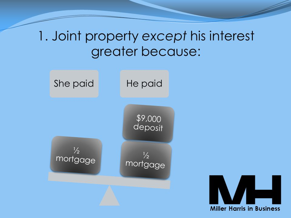 1. Joint property except his interest greater because: She paidHe paid ½ mortgage $9,000 deposit ½ mortgage Miller Harris in Business
