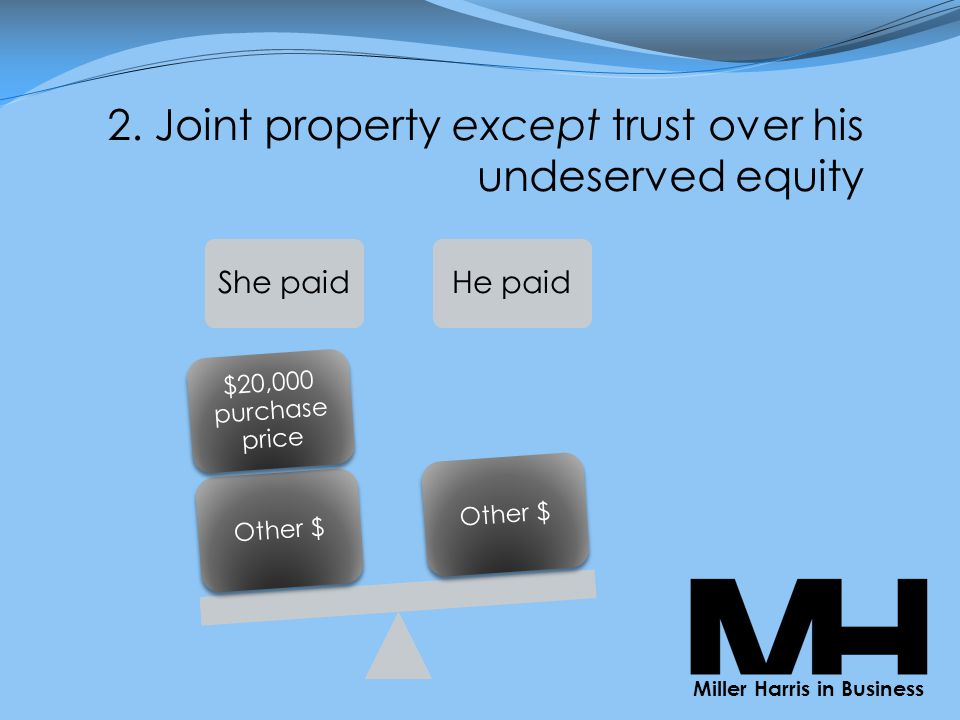 2. Joint property except trust over his undeserved equity She paidHe paid Other $ $20,000 purchase price Other $ Miller Harris in Business