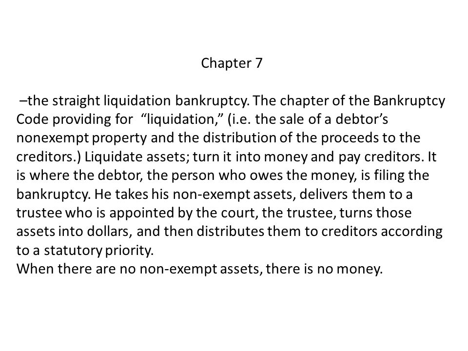 Chapter 7 –the straight liquidation bankruptcy.