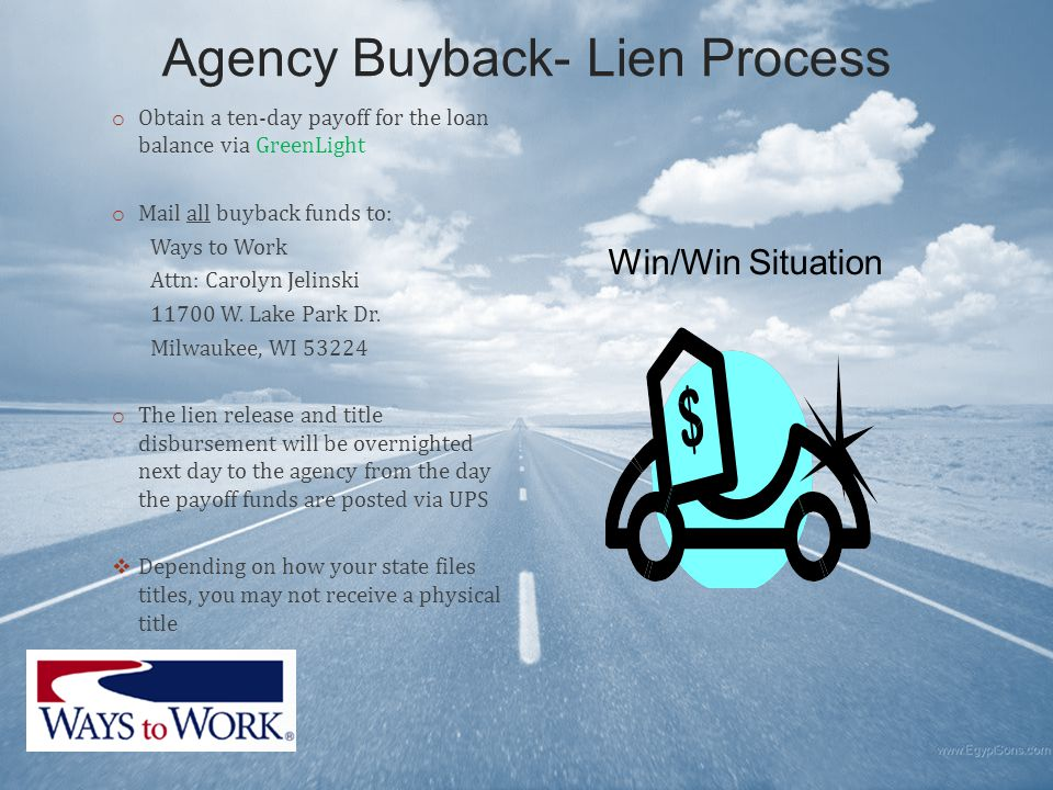 Agency Buyback- Lien Process o Obtain a ten-day payoff for the loan balance via GreenLight o Mail all buyback funds to: Ways to Work Attn: Carolyn Jelinski 11700 W.
