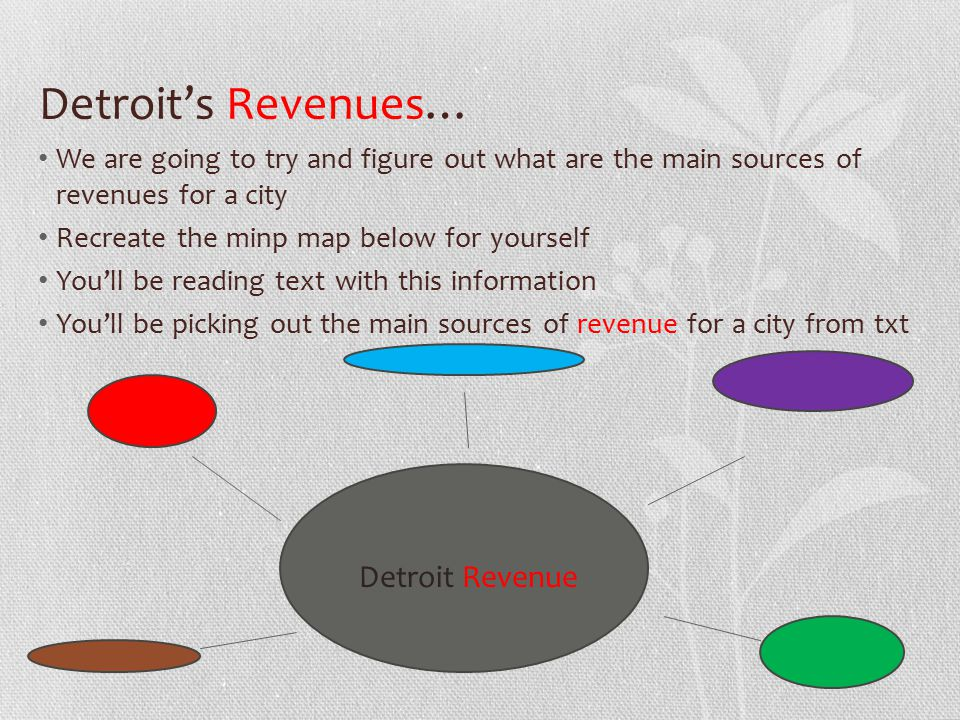 Detroit's Revenues… We are going to try and figure out what are the main sources of revenues for a city Recreate the minp map below for yourself You'll be reading text with this information You'll be picking out the main sources of revenue for a city from txt Detroit Revenue