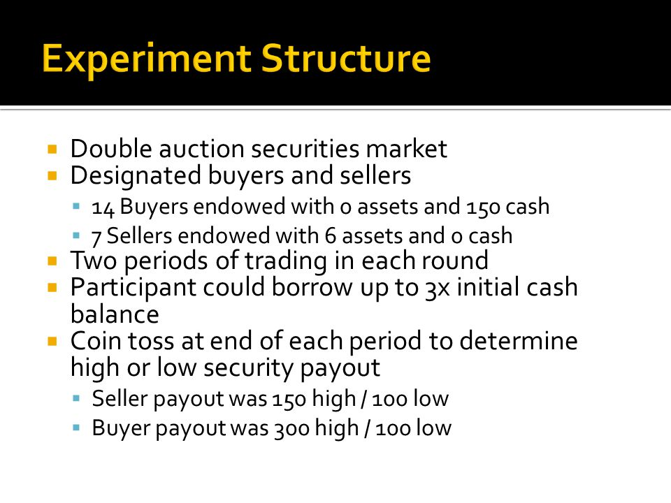  Double auction securities market  Designated buyers and sellers  14 Buyers endowed with 0 assets and 150 cash  7 Sellers endowed with 6 assets and 0 cash  Two periods of trading in each round  Participant could borrow up to 3x initial cash balance  Coin toss at end of each period to determine high or low security payout  Seller payout was 150 high / 100 low  Buyer payout was 300 high / 100 low