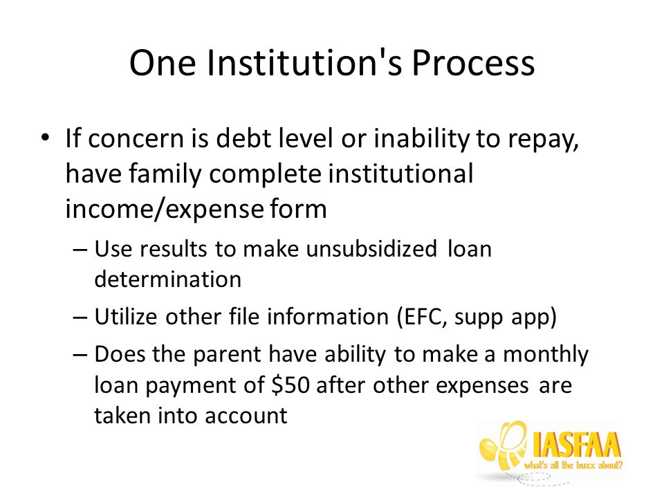 One Institution s Process If concern is debt level or inability to repay, have family complete institutional income/expense form – Use results to make unsubsidized loan determination – Utilize other file information (EFC, supp app) – Does the parent have ability to make a monthly loan payment of $50 after other expenses are taken into account