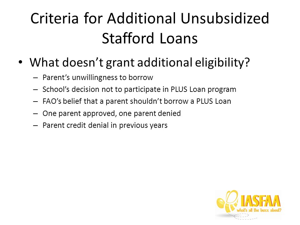 Criteria for Additional Unsubsidized Stafford Loans What doesn't grant additional eligibility.