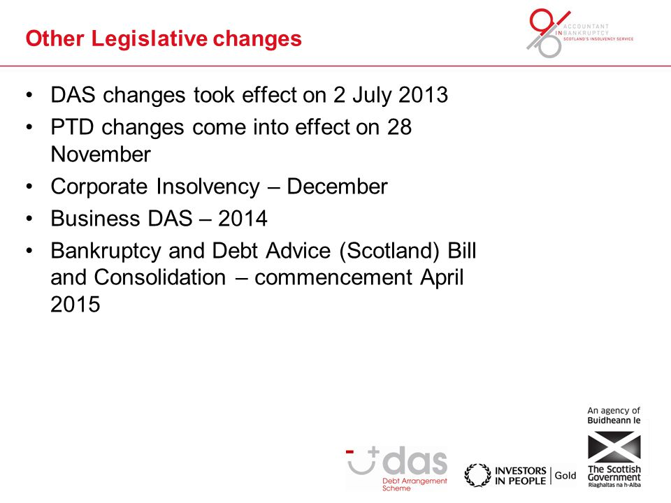 Other Legislative changes DAS changes took effect on 2 July 2013 PTD changes come into effect on 28 November Corporate Insolvency – December Business