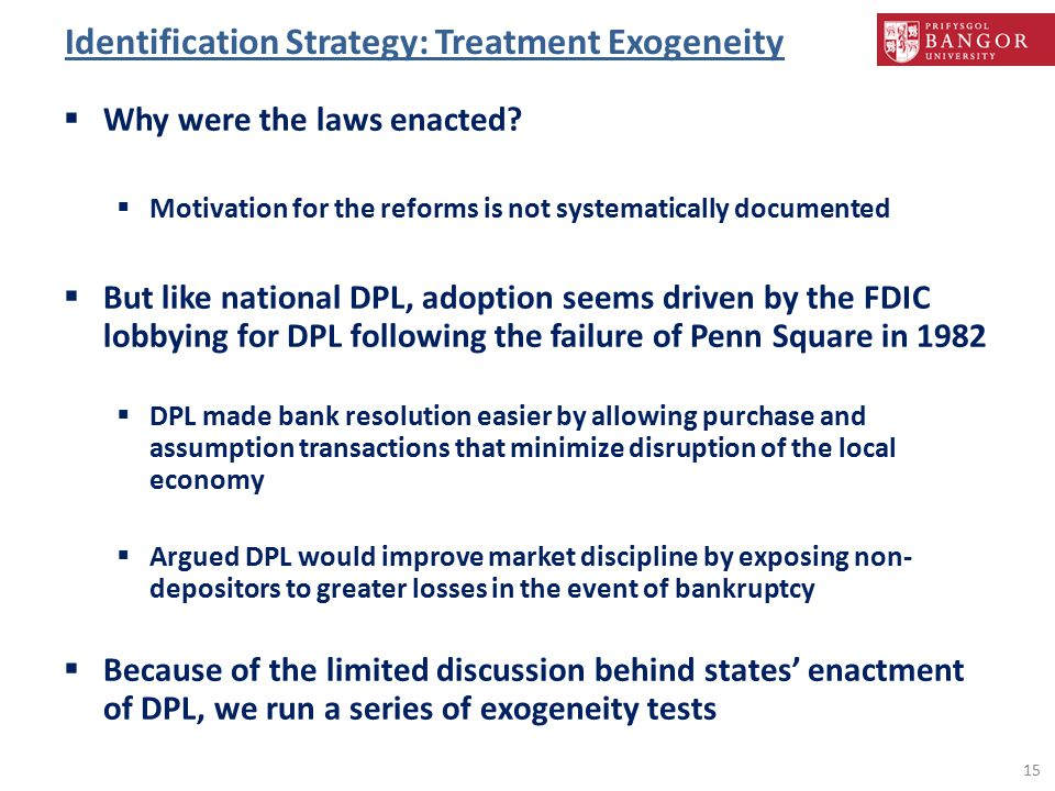 Identification Strategy: Treatment Exogeneity  Why were the laws enacted.