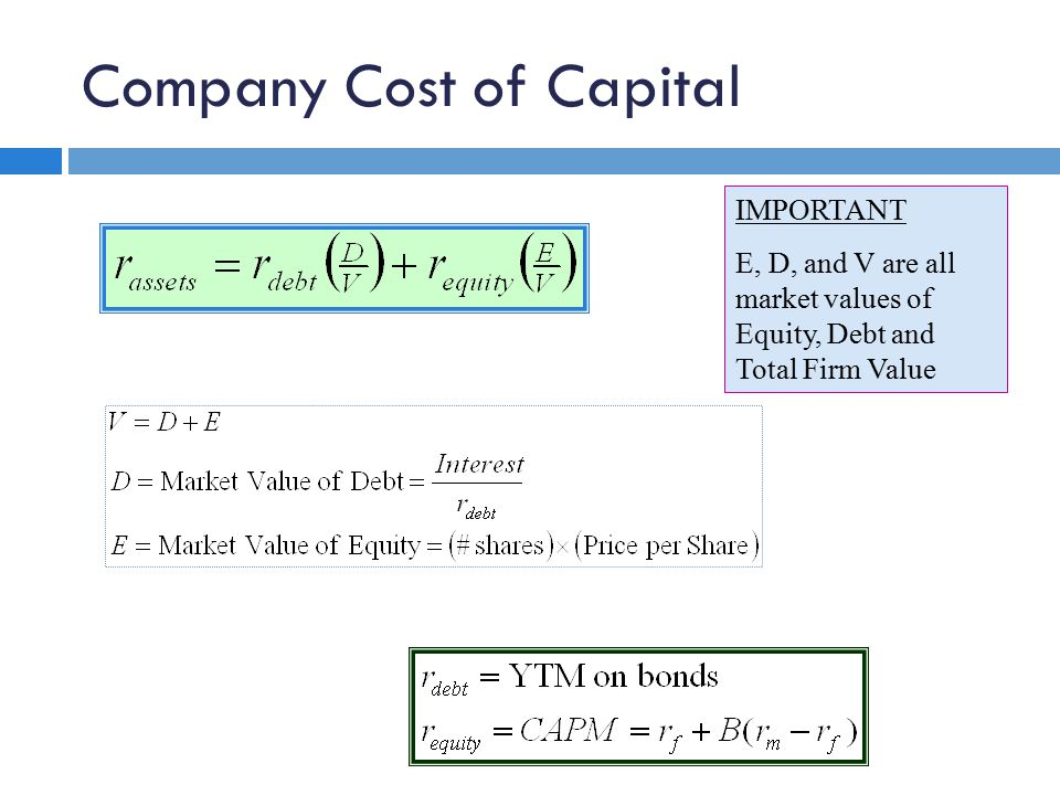 IMPORTANT E, D, and V are all market values of Equity, Debt and Total Firm Value Company Cost of Capital