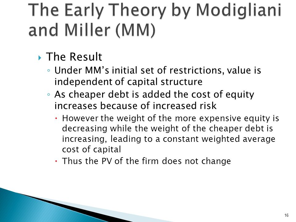  The Result ◦ Under MM's initial set of restrictions, value is independent of capital structure ◦ As cheaper debt is added the cost of equity increas