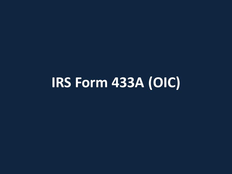 IRS Form 433A (OIC)
