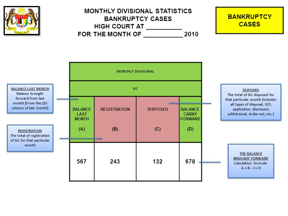 BANKRUPTCY CASES PERFORMANCE CHART BANKRUPTCY CASES HIGH COURT AT __________ FOR THE MONTH OF ___________ 2010 PERFORMANCE NAME DR / SAR FIXED (A) DISPOSED (B) ADJOURNED (C) CPSIC CPSIC CPSIC AORODISMISSEDW/SODSD ADJOURNED Cases fixed for that particular month, and adjourned/postponed to another month.