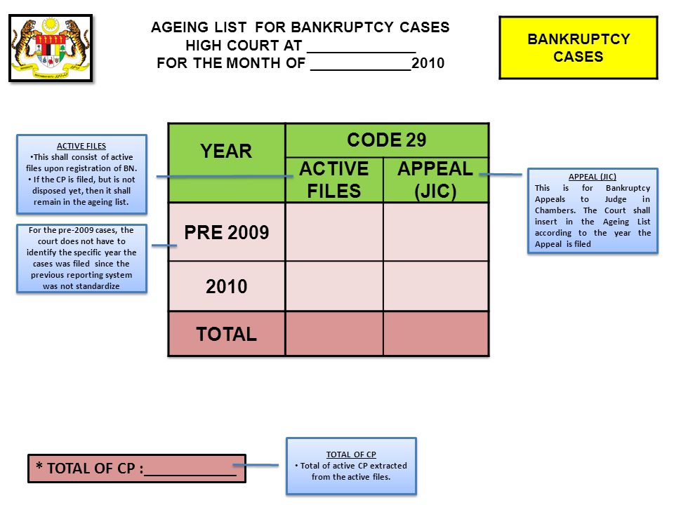 For the pre-2009 cases, the court does not have to identify the specific year the cases was filed since the previous reporting system was not standardize BANKRUPTCY CASES AGEING LIST FOR BANKRUPTCY CASES HIGH COURT AT _____________ FOR THE MONTH OF ____________2010 APPEAL (JIC) This is for Bankruptcy Appeals to Judge in Chambers.