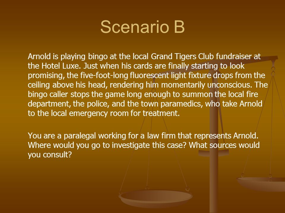 Scenario B Arnold is playing bingo at the local Grand Tigers Club fundraiser at the Hotel Luxe. Just when his cards are finally starting to look promi