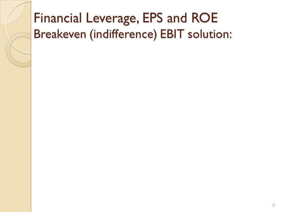 Financial Leverage, EPS and ROE Breakeven (indifference) EBIT solution: 9