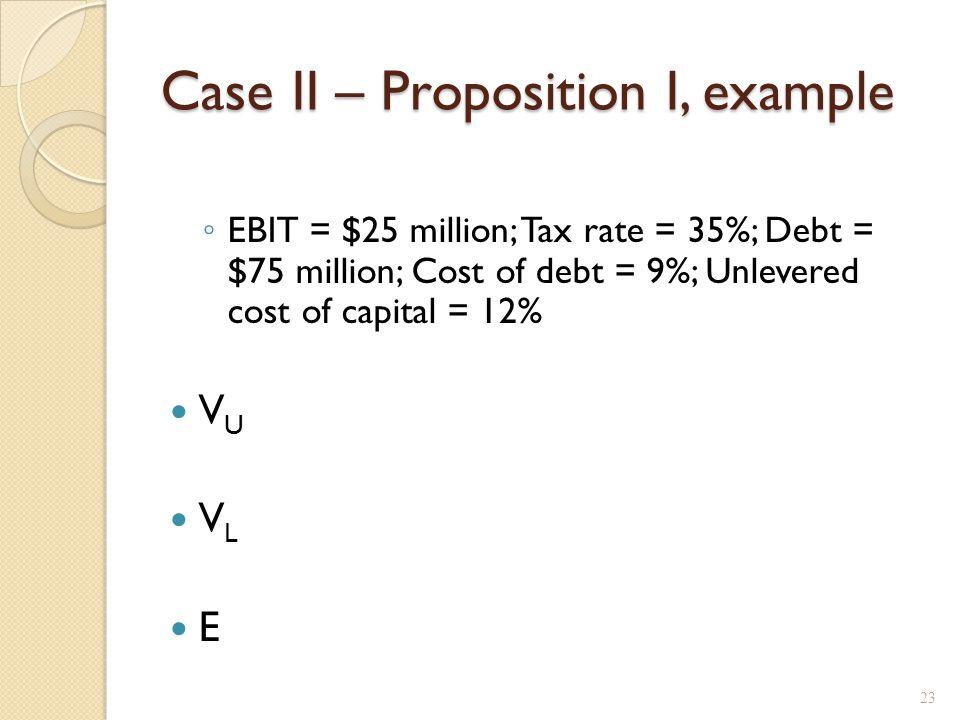 Case II – Proposition I, example ◦ EBIT = $25 million; Tax rate = 35%; Debt = $75 million; Cost of debt = 9%; Unlevered cost of capital = 12% V U V L