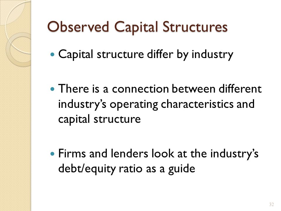 Observed Capital Structures Capital structure differ by industry There is a connection between different industry's operating characteristics and capi