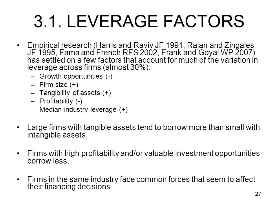27 3.1. LEVERAGE FACTORS Empirical research (Harris and Raviv JF 1991, Rajan and Zingales JF 1995, Fama and French RFS 2002, Frank and Goyal WP 2007)