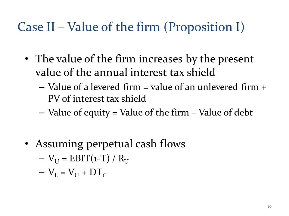 Case II – Value of the firm (Proposition I) The value of the firm increases by the present value of the annual interest tax shield – Value of a levered firm = value of an unlevered firm + PV of interest tax shield – Value of equity = Value of the firm – Value of debt Assuming perpetual cash flows – V U = EBIT(1-T) / R U – V L = V U + DT C 10