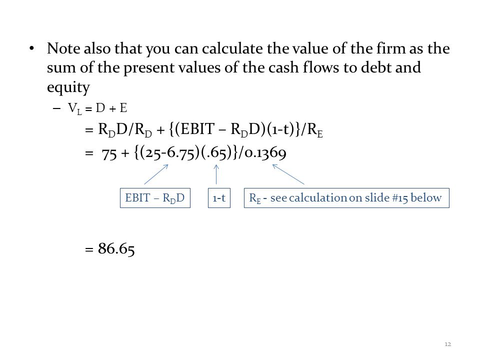 Note also that you can calculate the value of the firm as the sum of the present values of the cash flows to debt and equity – V L = D + E = R D D/R D + {(EBIT – R D D)(1-t)}/R E = 75 + {(25-6.75)(.65)}/0.1369 12 EBIT – R D D1-tR E - see calculation on slide #15 below = 86.65