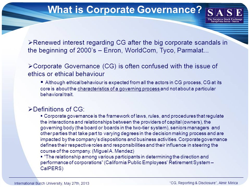 What is Corporate Governance.