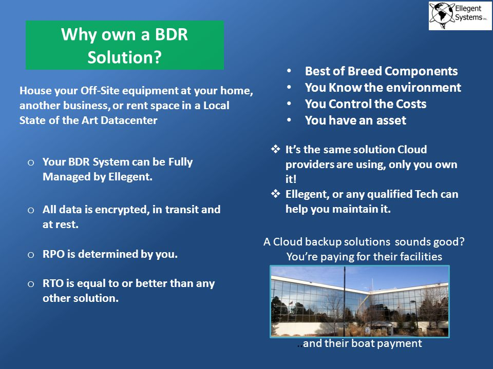 Why own a BDR Solution.