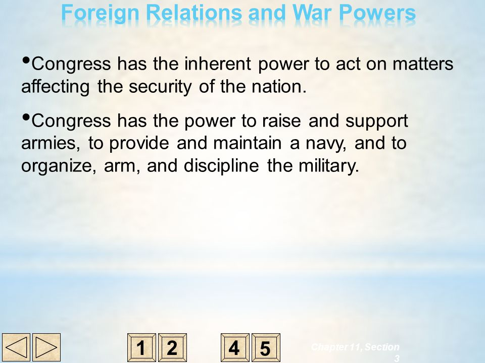 Congress has the inherent power to act on matters affecting the security of the nation. Congress has the power to raise and support armies, to provide