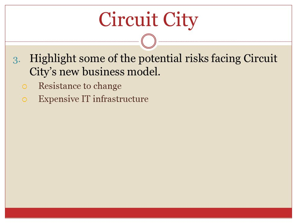Circuit City 3. Highlight some of the potential risks facing Circuit City's new business model.