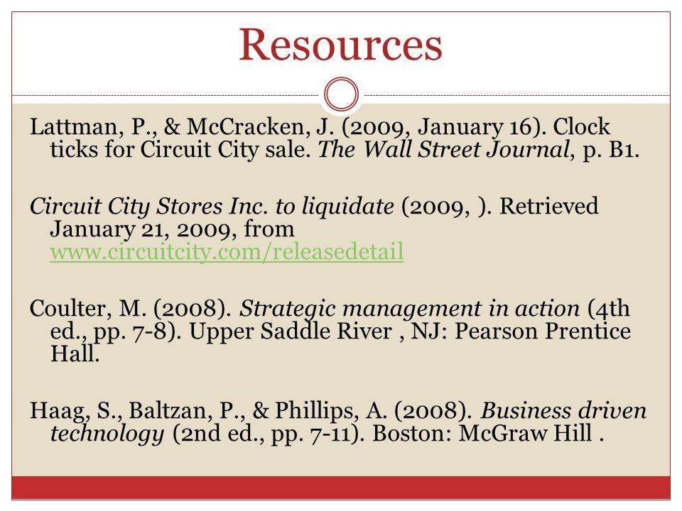 Resources Lattman, P., & McCracken, J. (2009, January 16).
