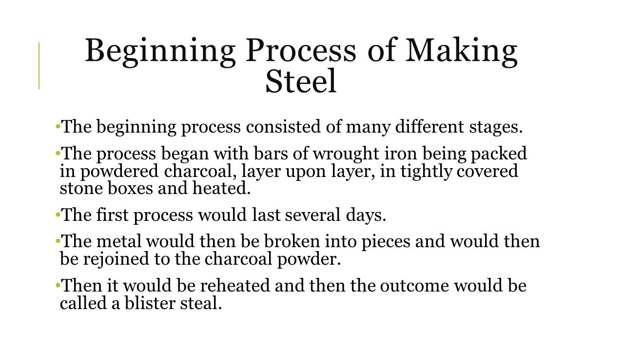 Process Continued The blister steel then will continue the process of becoming that final product.
