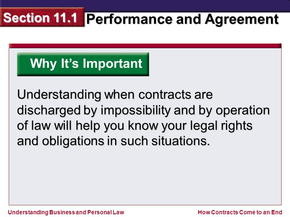 Understanding Business and Personal Law Performance and Agreement Section 11.1 How Contracts Come to an End Why It's Important Understanding when contracts are discharged by impossibility and by operation of law will help you know your legal rights and obligations in such situations.