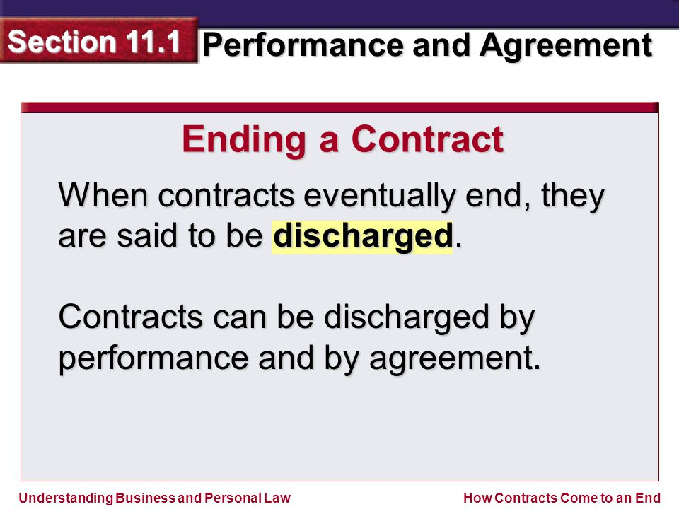 Understanding Business and Personal Law Performance and Agreement Section 11.1 How Contracts Come to an End Ending a Contract When contracts eventually end, they are said to be discharged.