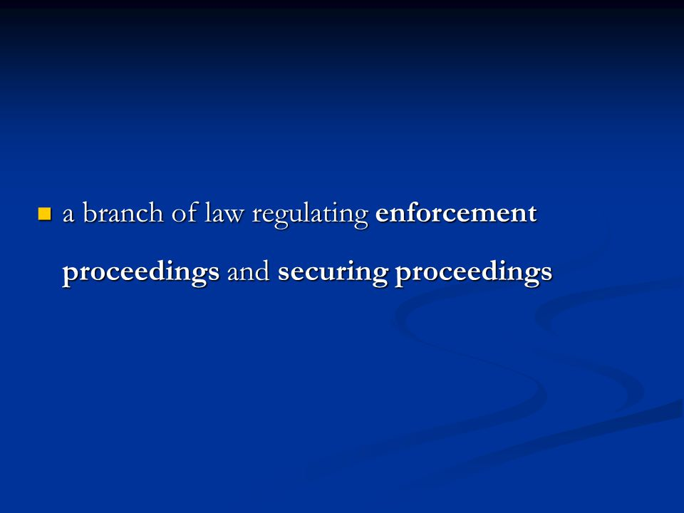 a branch of law regulating enforcement proceedings and securing proceedings a branch of law regulating enforcement proceedings and securing proceeding