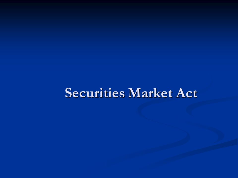 Securities Market Act