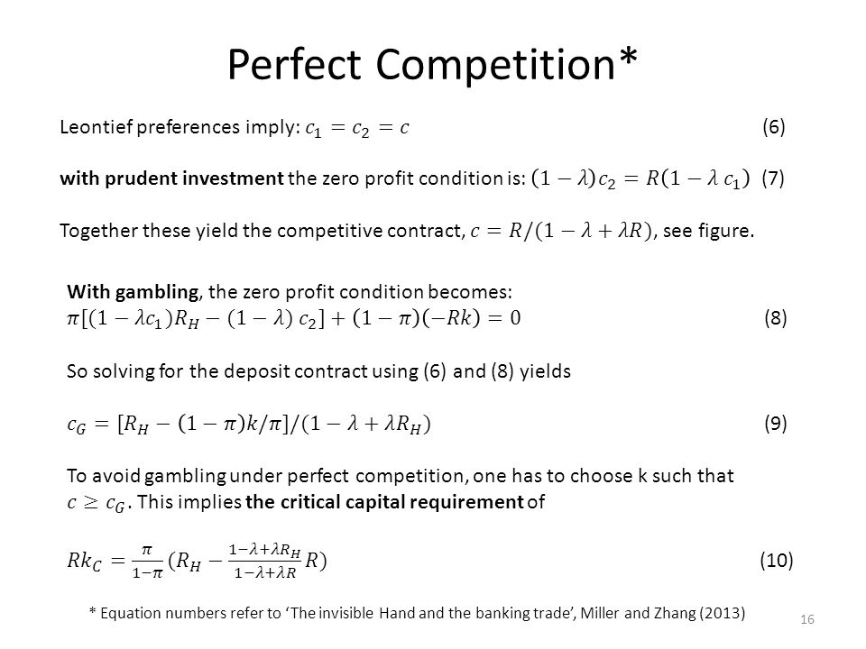 Perfect Competition* * Equation numbers refer to 'The invisible Hand and the banking trade', Miller and Zhang (2013) 16