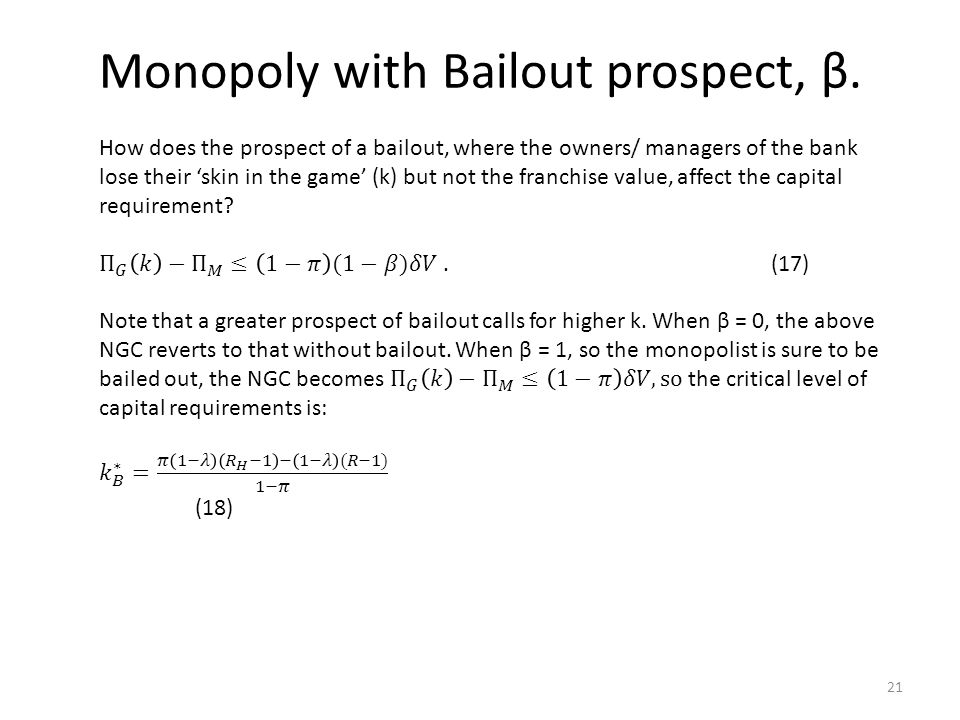 Monopoly with Bailout prospect, β. 21