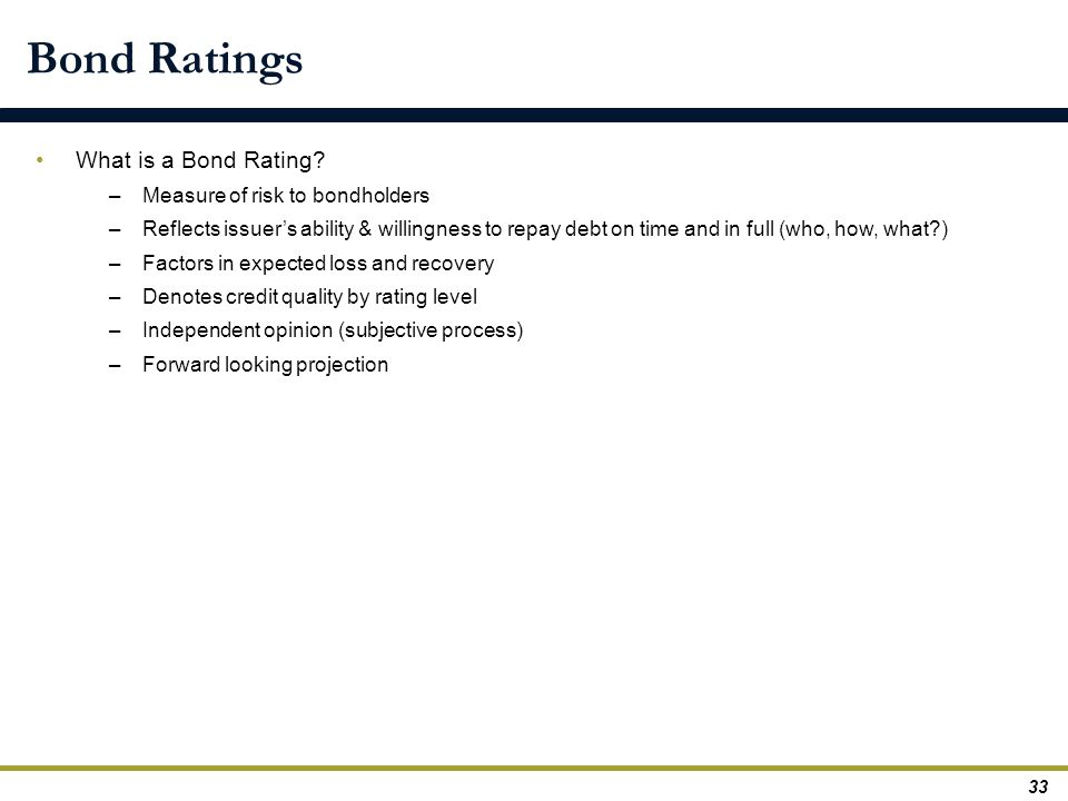 Bond Ratings What is a Bond Rating? –Measure of risk to bondholders –Reflects issuer's ability & willingness to repay debt on time and in full (who, h
