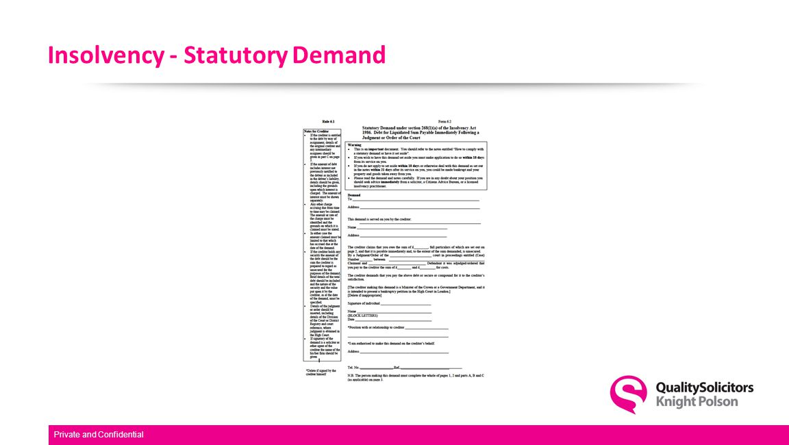 Insolvency - Statutory Demand Private and Confidential