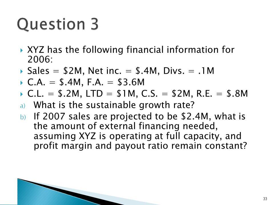  XYZ has the following financial information for 2006:  Sales = $2M, Net inc. = $.4M, Divs. =.1M  C.A. = $.4M, F.A. = $3.6M  C.L. = $.2M, LTD = $1