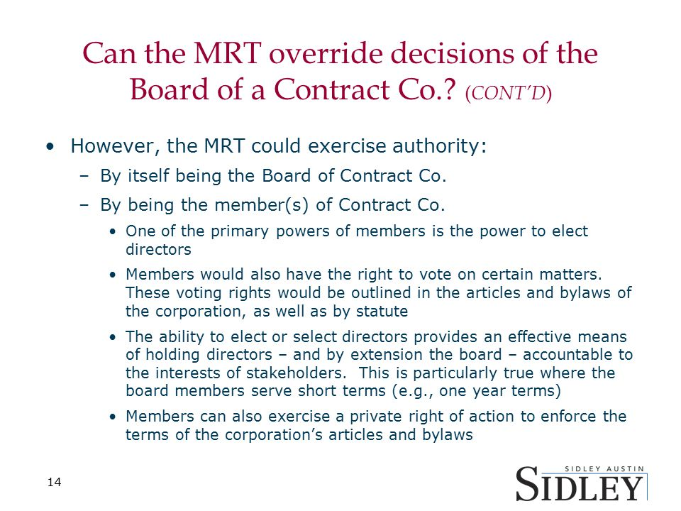 Can the MRT override decisions of the Board of a Contract Co..