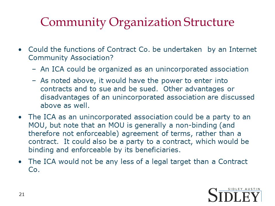 Community Organization Structure Could the functions of Contract Co.