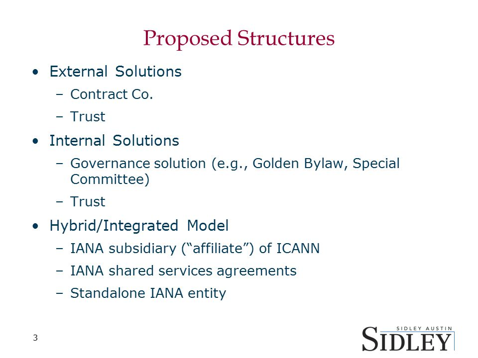 Proposed Structures External Solutions –Contract Co.