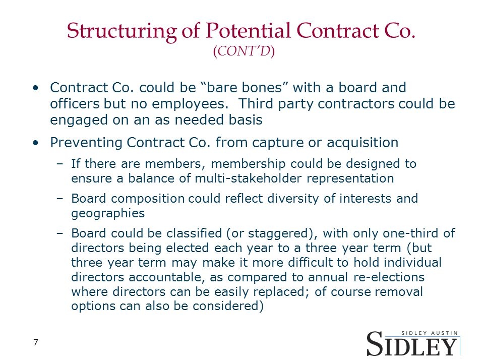 Structuring of Potential Contract Co.