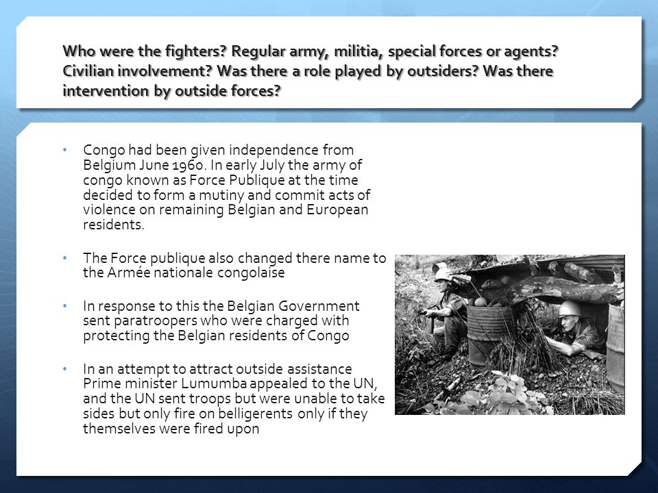 Who were the fighters. Regular army, militia, special forces or agents.
