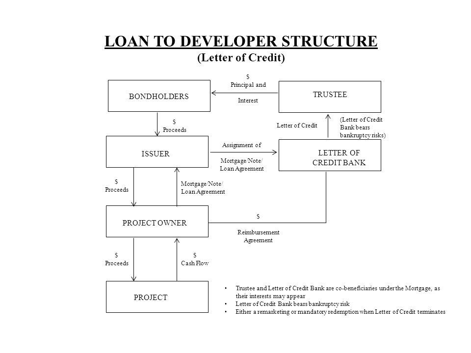 BONDHOLDERS TRUSTEE ISSUER PROJECT OWNER PROJECT $ Principal and Interest $ Proceeds Mortgage/Note/ Loan Agreement $ Proceeds $ Cash Flow LOAN TO DEVELOPER STRUCTURE (Letter of Credit) LETTER OF CREDIT BANK Assignment of Mortgage/Note/ Loan Agreement Letter of Credit (Letter of Credit Bank bears bankruptcy risks) $ Reimbursement Agreement Trustee and Letter of Credit Bank are co-beneficiaries under the Mortgage, as their interests may appear Letter of Credit Bank bears bankruptcy risk Either a remarketing or mandatory redemption when Letter of Credit terminates
