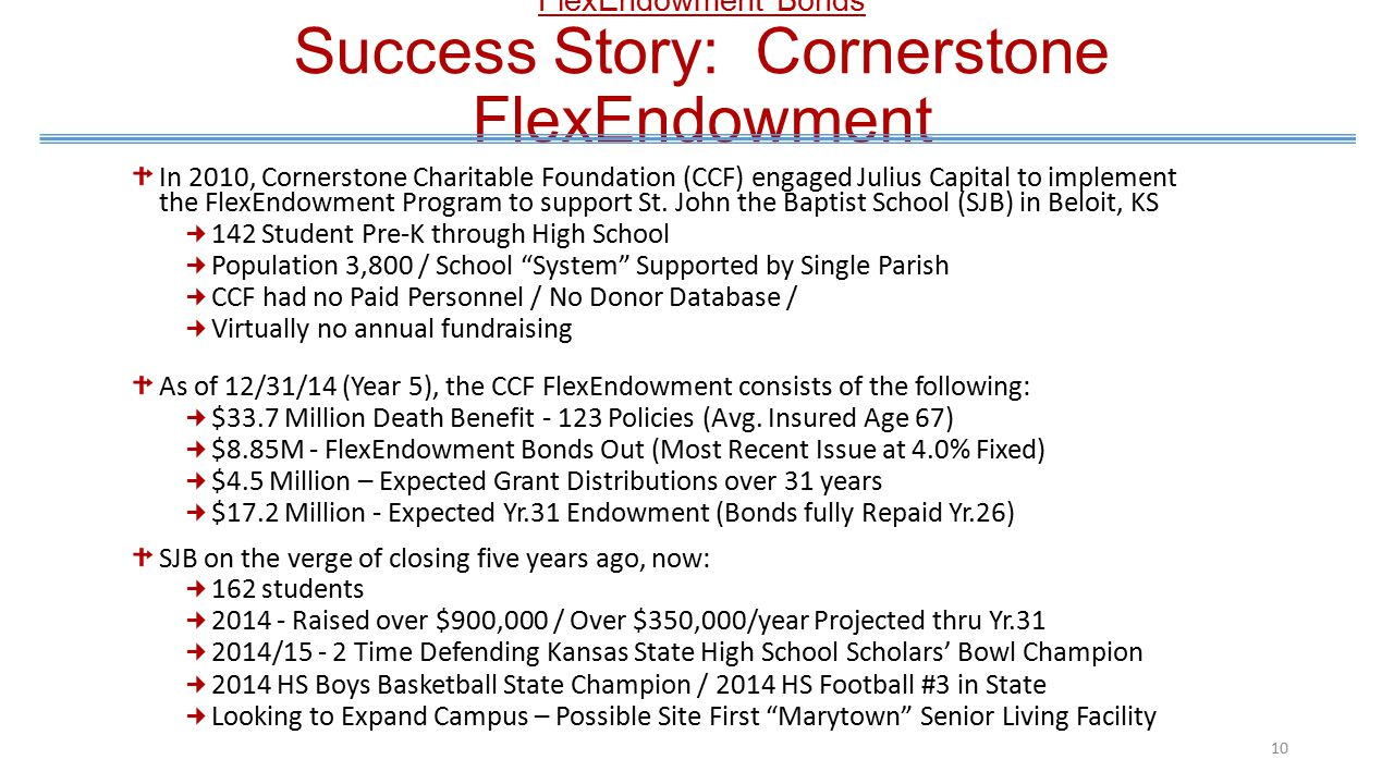 FlexEndowment Bond The FlexEndowment Campaign 9 Current Practice: Endowment Campaigns Typically a Disconnected Component of a Cash Campaign No Use of Structured Giving to finance Life Insurance Policies Narrow: Little Guy's Left Out Individual Donor typically does not experience the fruit of his/her Gift.