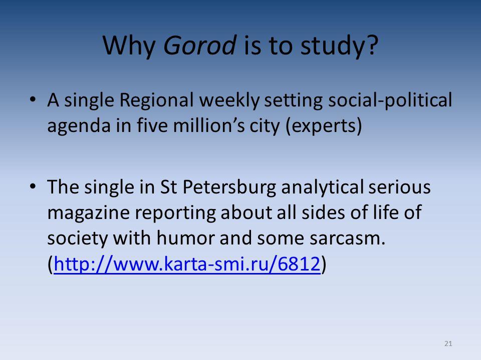 21 Why Gorod is to study.