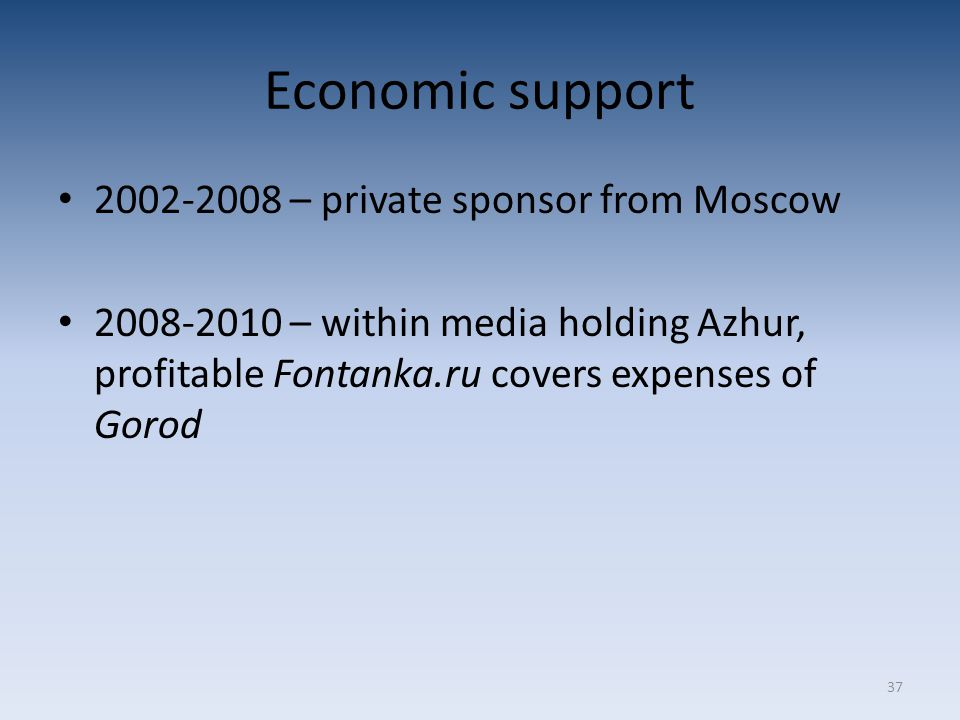 37 Economic support 2002-2008 – private sponsor from Moscow 2008-2010 – within media holding Azhur, profitable Fontanka.ru covers expenses of Gorod
