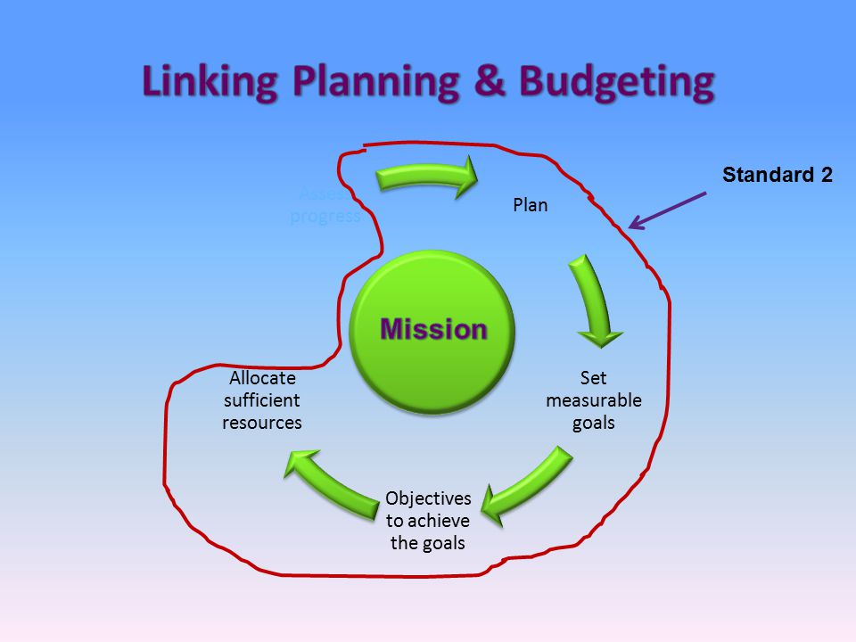 Plan Set measurable goals Objectives to achieve the goals Allocate sufficient resources Assess progress Standard 2