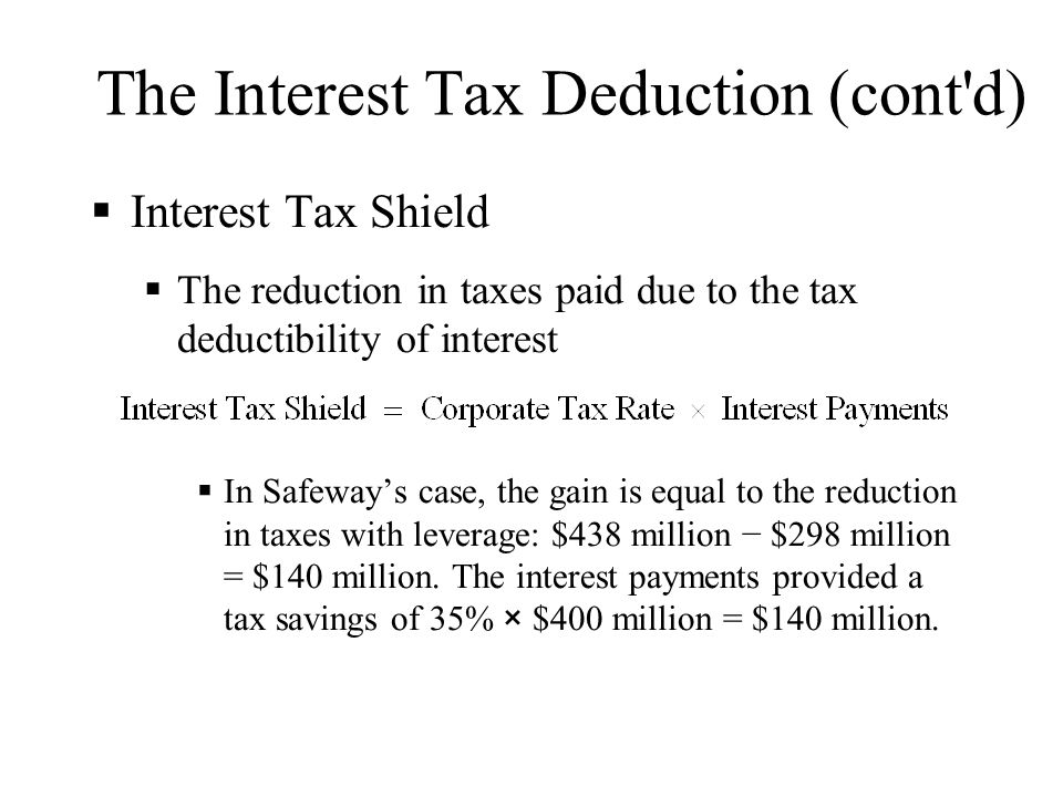 The Interest Tax Deduction (cont'd)  Interest Tax Shield  The reduction in taxes paid due to the tax deductibility of interest  In Safeway's case,