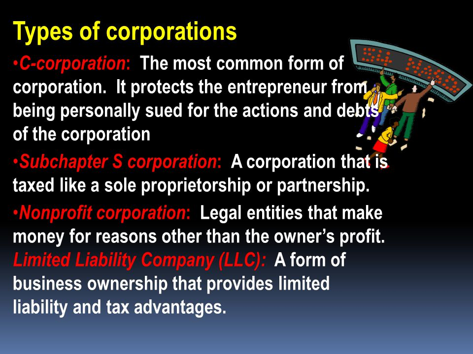 Corporation  A business that is chartered by a state and legally operates apart from its owners.  Owned by stockholders who have purchased units or